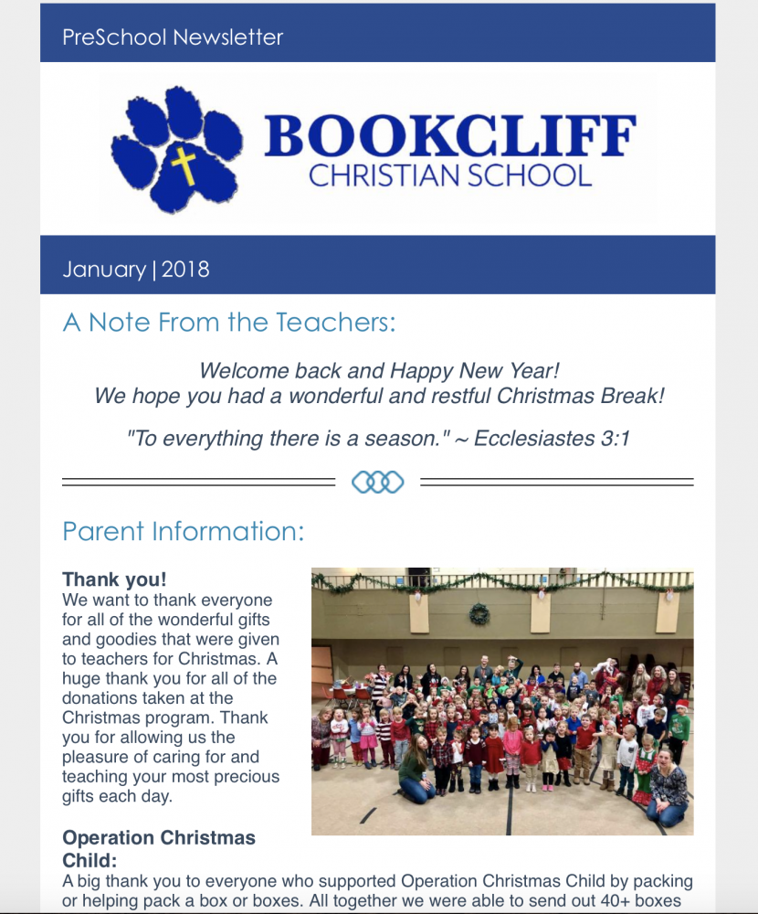 Newsletters - Bookcliff Christian School