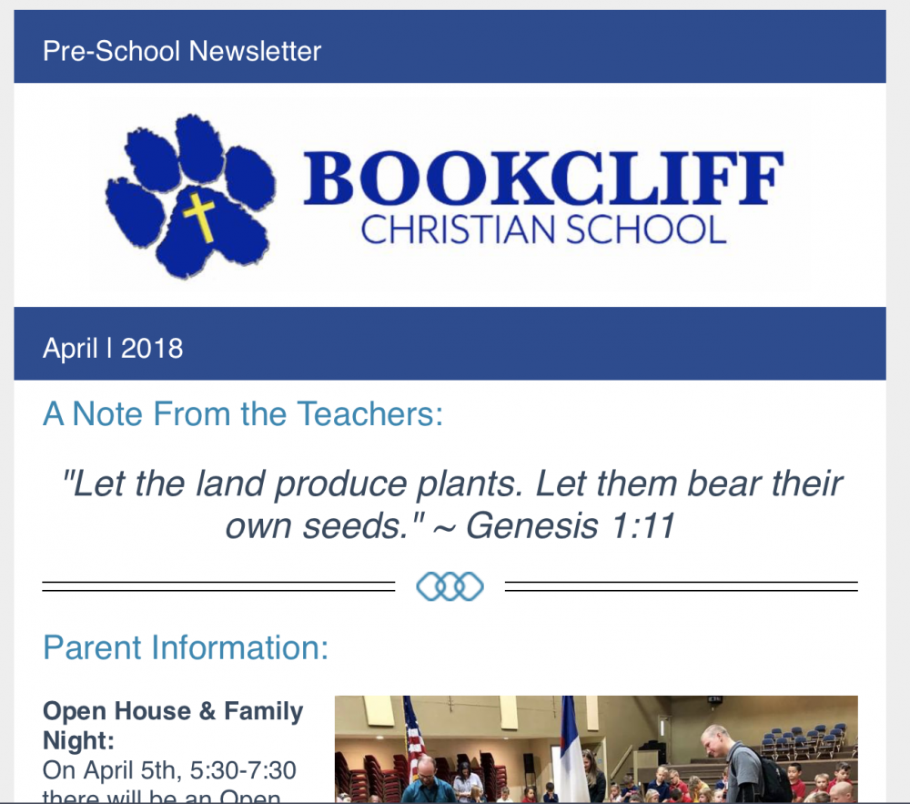 april preschool newsletter 2018
