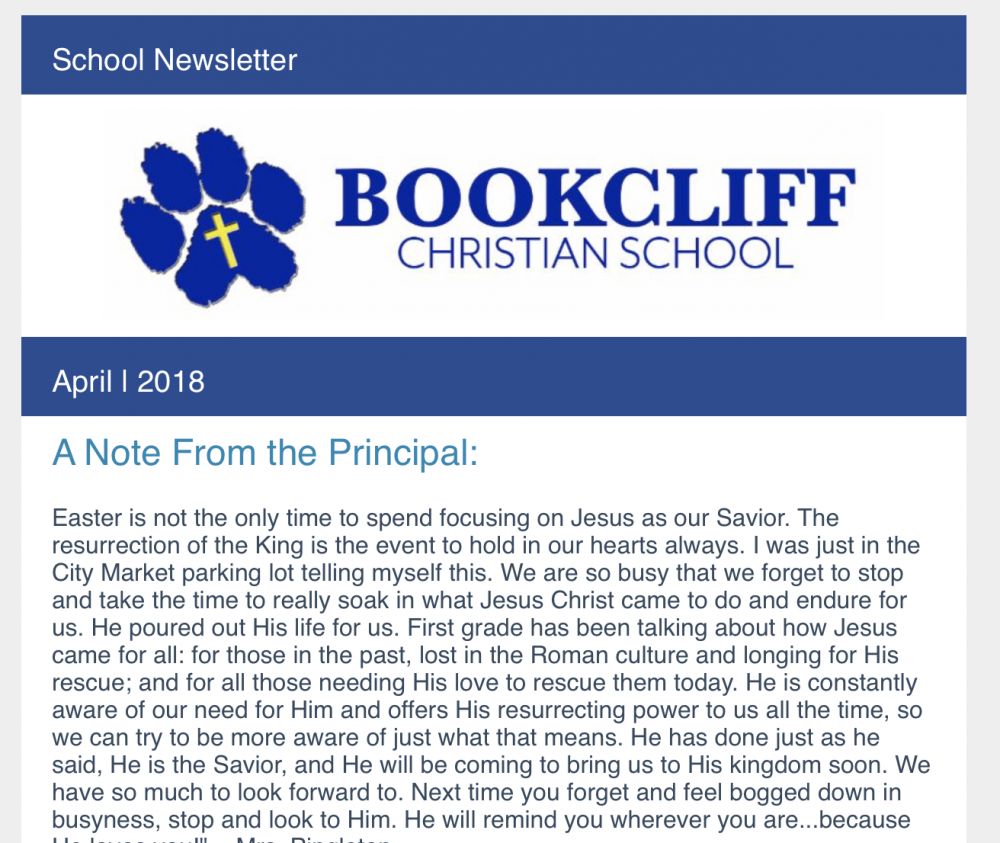 april school newsletter 2018